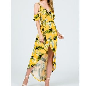 Dresses & Skirts - Yellow & Green Palm Print Wrap Dress
